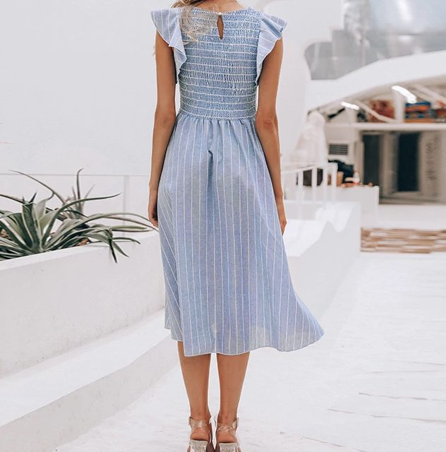 Vintage Styled Striped Casual Dress