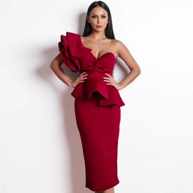 Women's Fashion  Bodycon Ruffles Dress